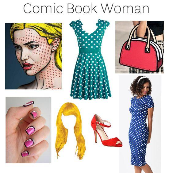 DIY Halloween Costume   #ComicBook #PopArt #makeup #polkadot #vintage #cartoon #yellowwig #redpumps #nailart   #fashionblog @lilperfectdress