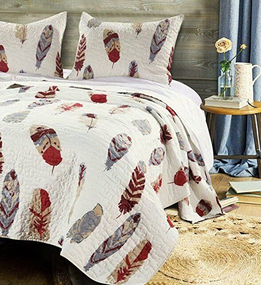 Quilt Set With Shams 3 Piece Feather Theme Print Design Lodge Log