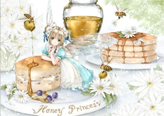Honey fairy princess with blond hair in pigtail odango, green eyes, turquoise blue dress, & iridescent wings by manga artist Shiitake.