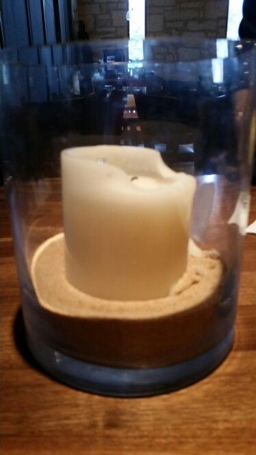 Add sand to bottom of candle holder to keep off wax.