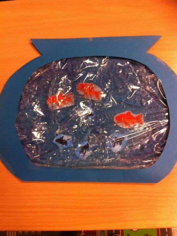haargel van ah. plastic zak van Action. visjes lamineren.