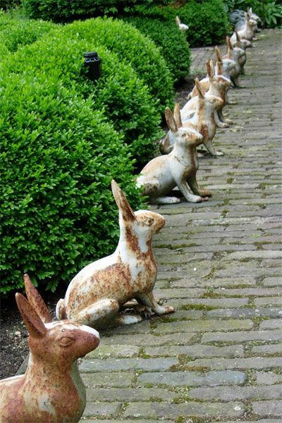 Wallace gardens: a legion of cast iron rabbits, watching silently...