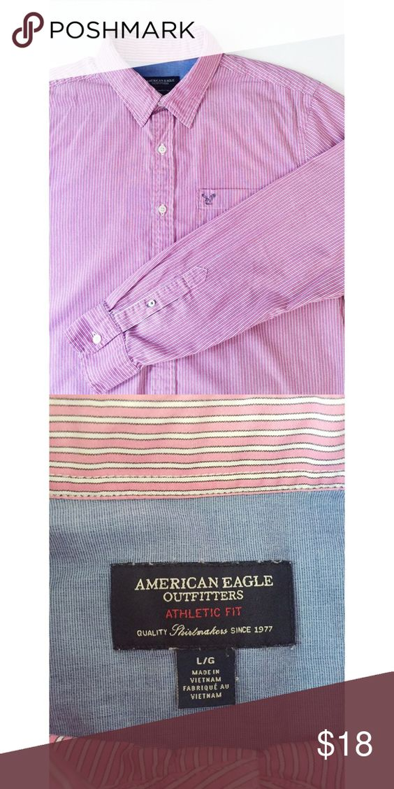 American Eagle Striped Button Up Pink and white striped, long sleeve shirt American Eagle Outfitters Tops Button Down Shirts