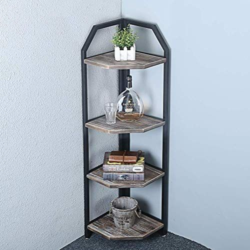 Best Seller Womio Industrial Metal Corner Shelf Bookshelf Rustic Corner Shelves Real Wood Corner Shelves 4 Tier Modern Bookcase Display Stand Standing Home Deco In 2020 Wood Corner Shelves Home Decor Shelves Rustic Corner Shelf