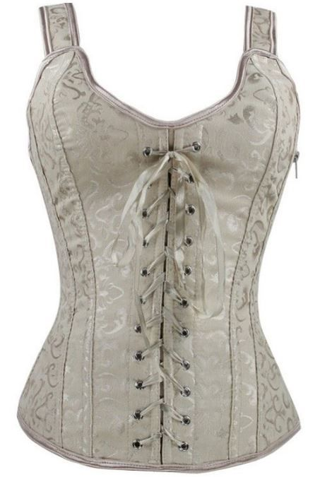 "One-piece elegant strap victorian corset top features lace-up front and back closure, side zipper and satin ribbons.  Poly boning      Fashion corsets do not provide significant waist reduction greater than 1"".  Please be sure you loosen the lacing on a corset before trying it on. A corset is meant to be tightened once you are wearing it. Loosen the laces so that you can fasten the front or zip it up, if it has a zipper, then tighten the back laces. Loosen the laces to approx your natural wa...:"