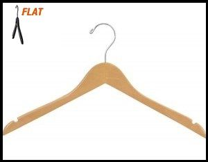 """CHW-50N  17\"""" Natural Wooden Clothing Suit Hangers"""