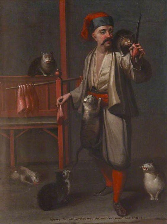 Jean-Baptiste Vanmour (Flemish-French, 1671 – 1737) (after) - Homme Turc qui vend de mouton pour les chats, late 18th C. National Trust, Sissinghurst Castle