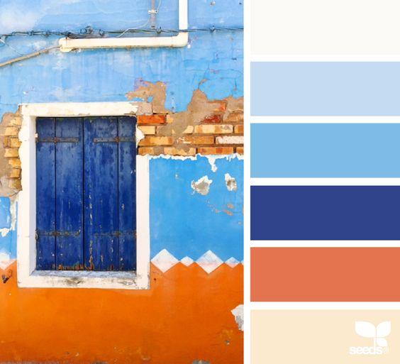 Color view flora blue orange and orange color palettes for Blue and orange paint combinations