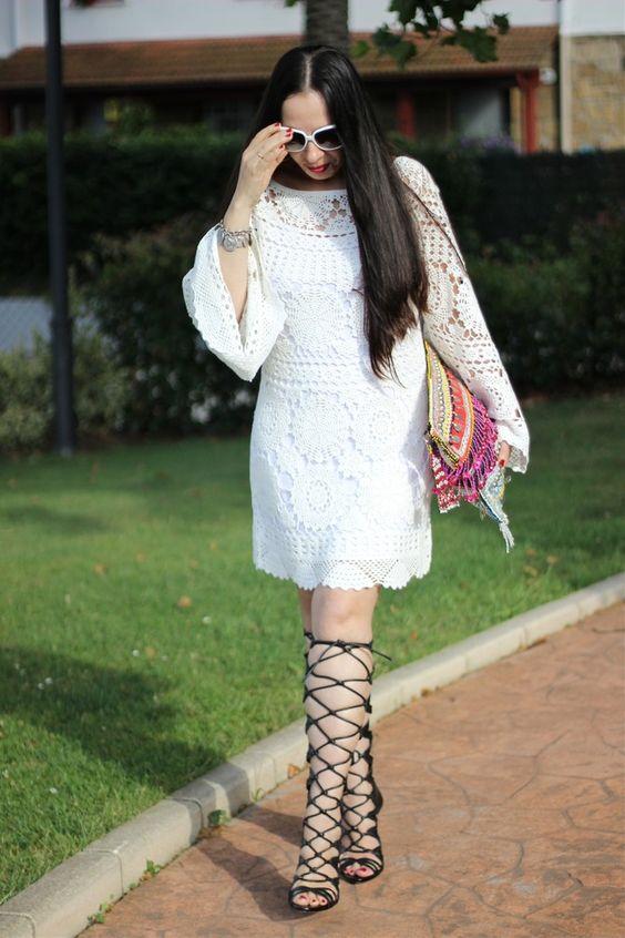 Gladiator sandals and crochet dress on my blog: www.acitydollscloset.com/blog