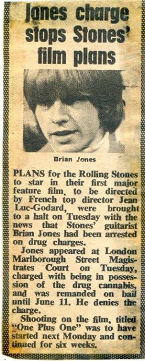 News article of Brian Jones drug bust, circa mid 60's