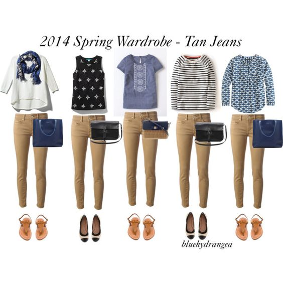"""Spring Wardrobe - Tan Jeans"" by bluehydrangea on Polyvore"