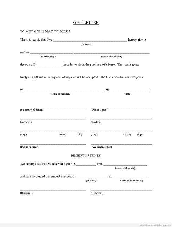 Sample Printable gift letter for buyer from family member 2 Form ...