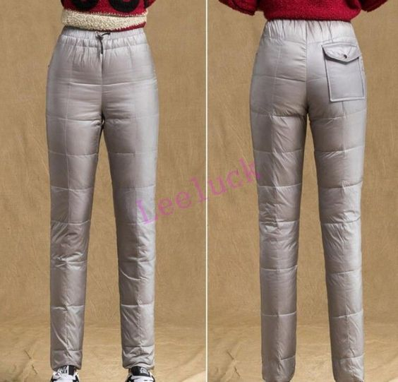 Winter Womens Casual Warm Padded Pants Puffer Slim Fit Outdoor Thick Trouser