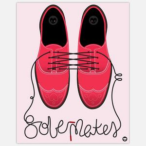 "Wheatpaste street art ""SoulMates"" ~ perfect red accent for the Shades of Grey bedroom I'm planning.  24 X 30"
