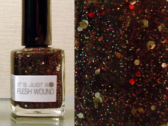 """Nail polishes that are pretty AND geeky? YES PLEASE.    This one is called, """"Its Just A Flesh Wound""""."""