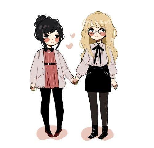 Too Girls Holing Hands Art Art Friend Art Character Design