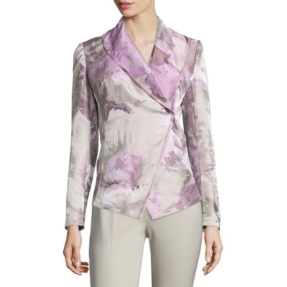 Lafayette 148 New York Bethany Asymmetric Jacket (32155 RSD) ❤ liked on Polyvore featuring outerwear, jackets, sterling m, double breasted jacket, asymmetrical jacket, shawl collar jacket, lafayette 148 new york and pink jacket