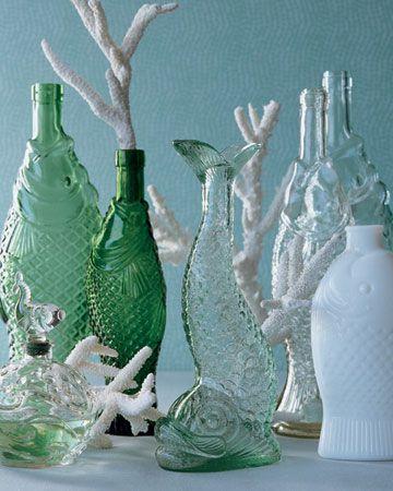 .Fish shaped glass bottles