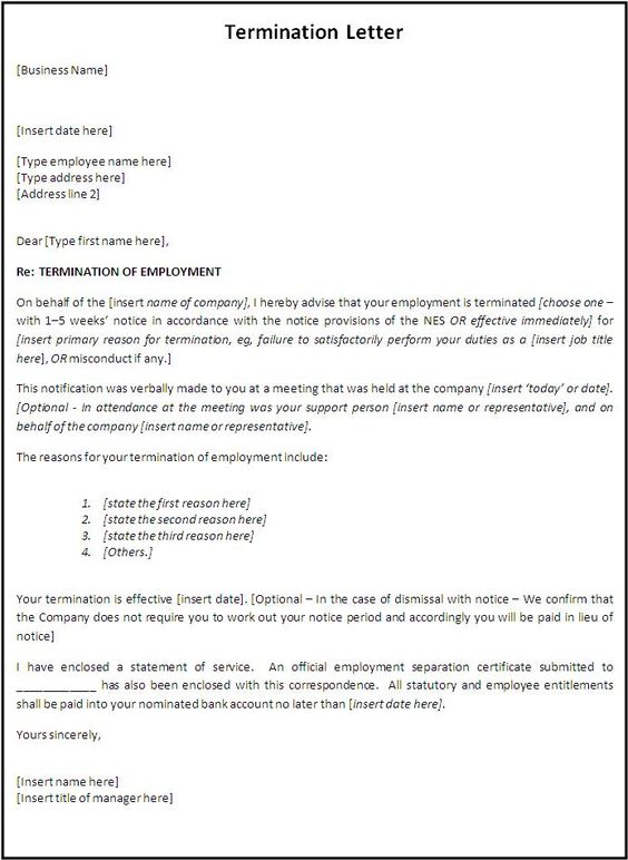 Termination letter format free word templates for Employment separation certificate template