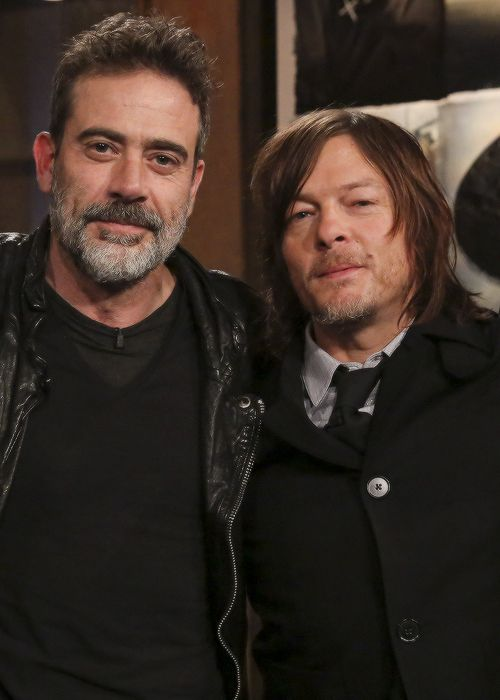 Norman Reedus and Jeffrey Dean Morgan at Talking Dead on April 3, 2016