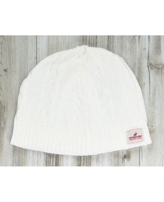 Touca de tricot com tranças largas off white MissFloor