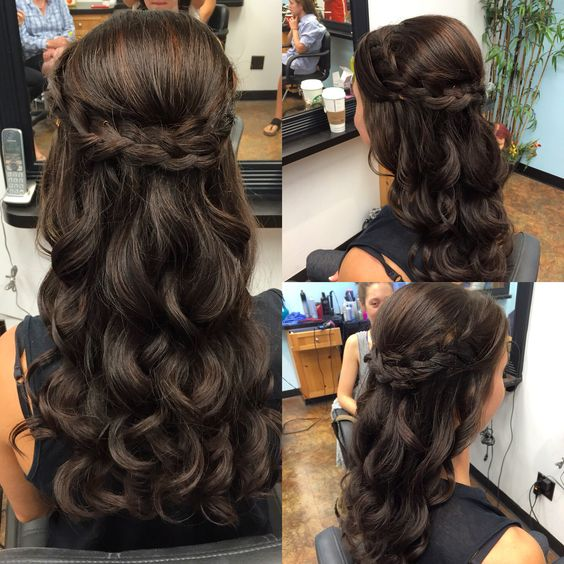 Wedding Hairstyles Up Half Up Down Straight With Braid: Half Up Half Down Braid With Waves Perfect For Wedding