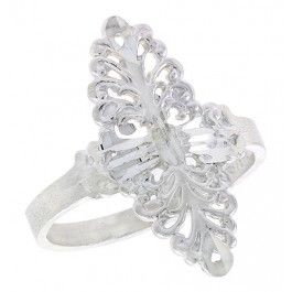 Sterling Silver Navette-shaped Filigree Ring, 7/8 inch.