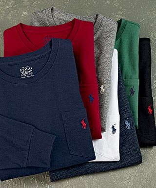 any color of long sleeve ralph lauren t-shirt some short sleeve as well.(black and grey please) prefer crew neck no pockets