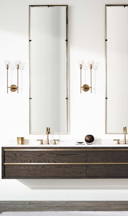 Mirror, Floating cabinets and Long mirror on Pinterest
