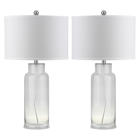 Safavieh Table Lamp - Clear/White (Set of 2)