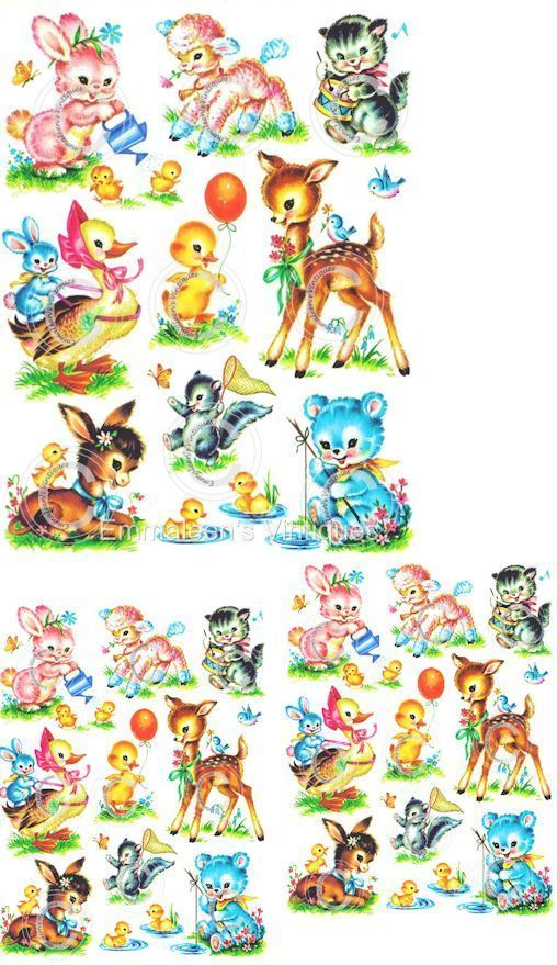 Vintage Image Shabby Nursery Baby Animal Assortment Waterslide Decals AN678