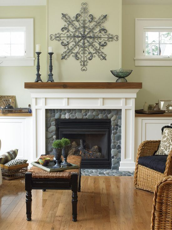 What if we did the rock with wood around it? - - - not in white, but in the color of the interior doors - I still want a hearth. Fireplace Design, Pictures, Remodel, Decor and Ideas - page 13