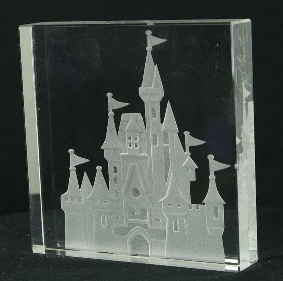 Walt Disney World RGC Etched and Frosted Clear Glass Art Cinderella's Castle in Collectibles, Disneyana, Contemporary (1968-Now) | eBay