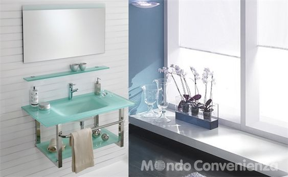 Sospesa arredo bagno moderno mondo convenienza - Mobili bagno a terra mondo convenienza ...