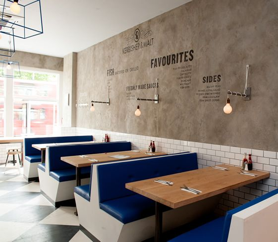 Good example of varying textures: a matte, rough surface vs. shiny tile and leather banquette. We need to think about how we can use matte vs. shiny textures to draw the eye.  Kerbisher & Malt | Ealing, London