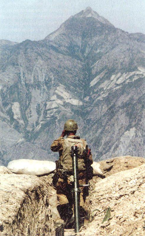 Russian mortar-man on guard in Tajikistan during the civil war, early 1990's.