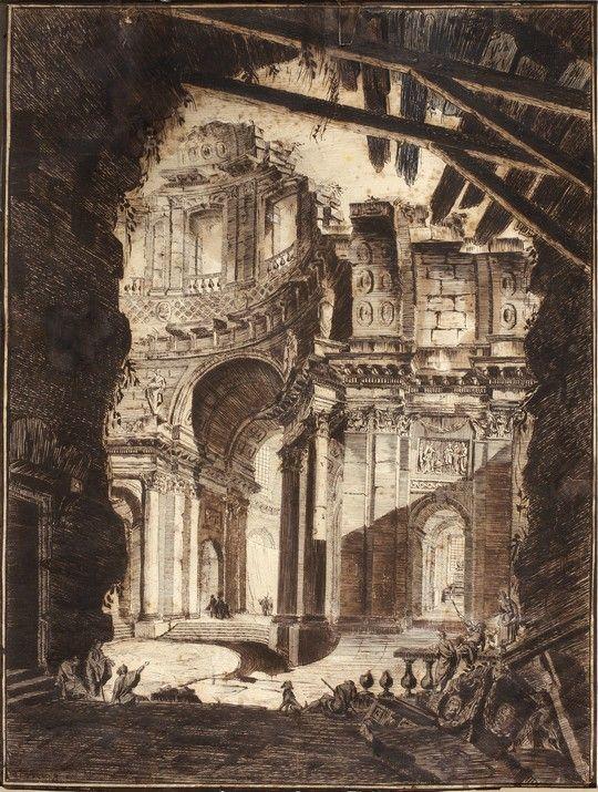 giovanni battista piranesi - capriccio architettonico, 1748-1752, china e inchiostro bruno su carta.