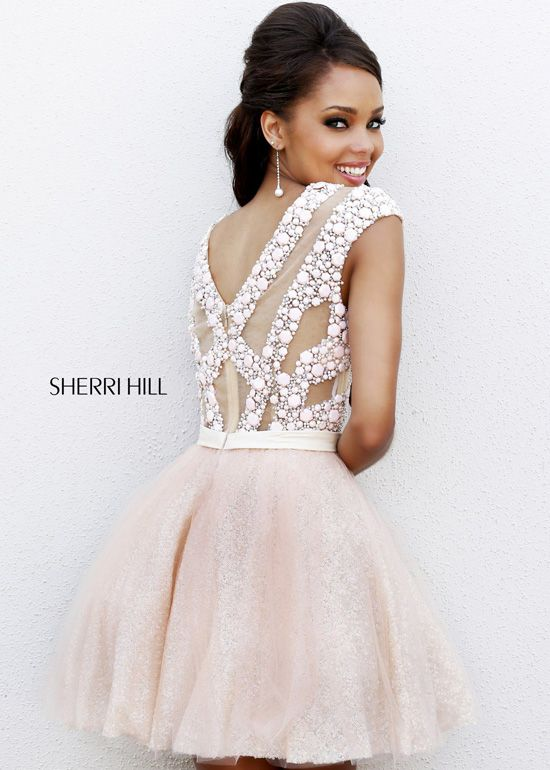 Sherri Hill 4301 - Blush Beaded Short Homecoming Dresses Online ...