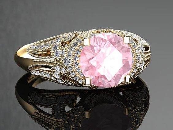Morganite Engagement Ring Morganite Ring 14k or 18k Black Gold VS1MORGY