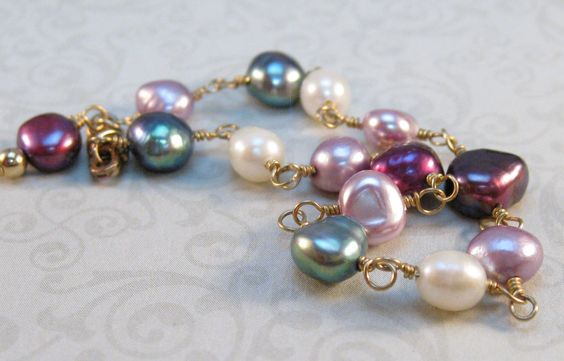 Dyed dark peacock blue, white, fuchsia, rose freshwater pearls wire wrapped gold fill bracelet - pinned by pin4etsy.com
