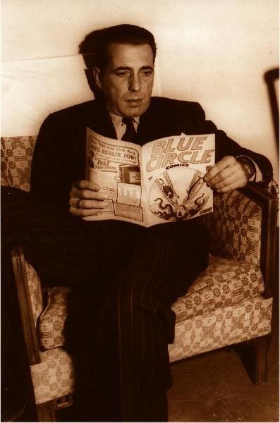 Humphrey Bogart reading a comic book