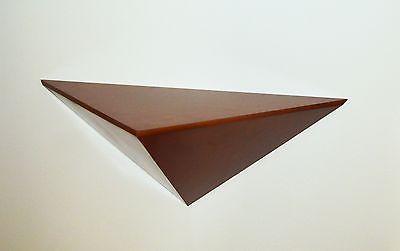 Handmade triangular shelf in wood, 29-inch by 12-inch