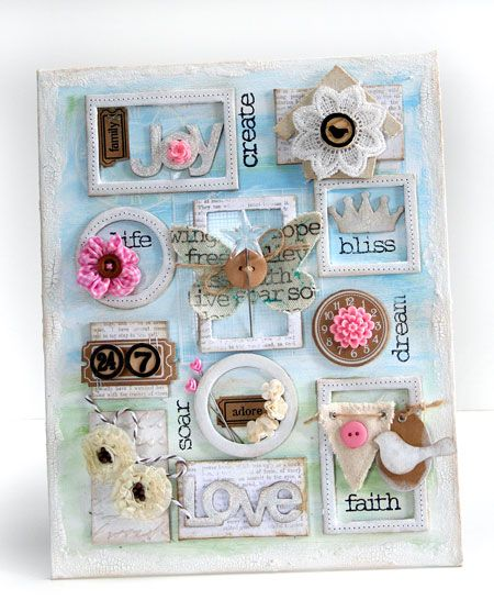Buy a canvas (or two. Or three!). Express yourself! Don't limit yourself to paint: make collages! Cut out magazine photos, use old tickets or postcards; anything. Then, hang it above your bed. Voila: an instant headboard or wall art! ~Caress~