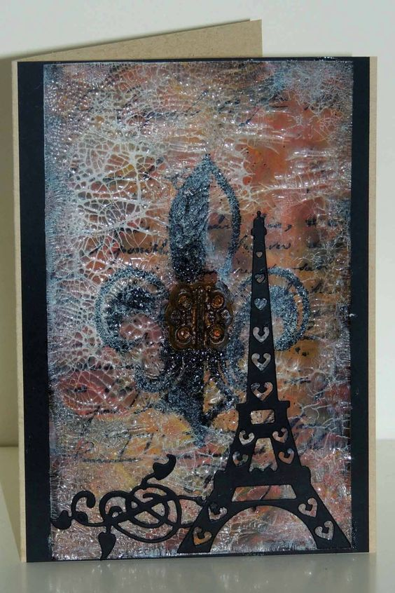 card by Sharon Jeffs made with Frantic Stamper Eiffel Tower die (http://www.franticstamper.com/Frantic-Stamper--Precision-Dies--Mix-n-Match-Die-Eiffel-Tower_p_92919.html) and Fleur-de-lis scroll die (http://www.franticstamper.com/Frantic-Stamper--Precision-Dies--Fleur-de-Lys-Scroll-Die_p_92927.html)