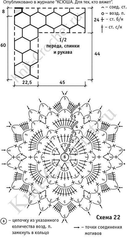 Выкройка, схемы узоров с описанием вязания крючком женского пуловера из 6-гранников размера 44-46.