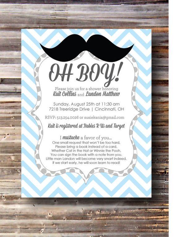 Mustache Baby Shower Invitation Printable File Mustache