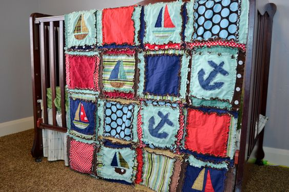 Nautical Crib Set, Boats and Anchors, Blue, Turquoise, and Red, Made to Order