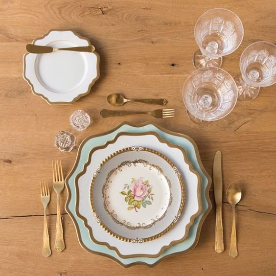 Anna Weatherley Charger in Aqua Sky + AW Dinnerware in White + The Botanicals Collection Vintage China + Gold Chateau Flatware + Czech Crystal/Coupe Trios + Antique Crystal Salt Cellars | Casa de Perrin Design Presentation