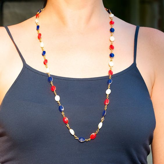 Vintage Necklace and Earring Set in Red White by TwiceBakedVintage, $23.00