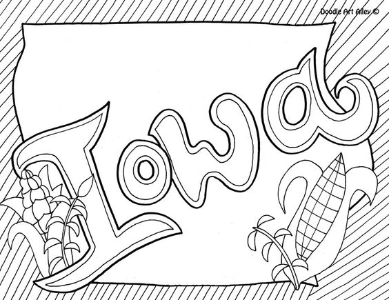 Iowa Coloring Page By Doodle Art Alley
